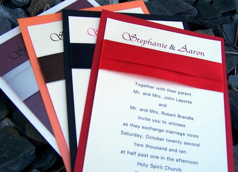 Classic wedding invitation, red, black, purple, orange, silver ...