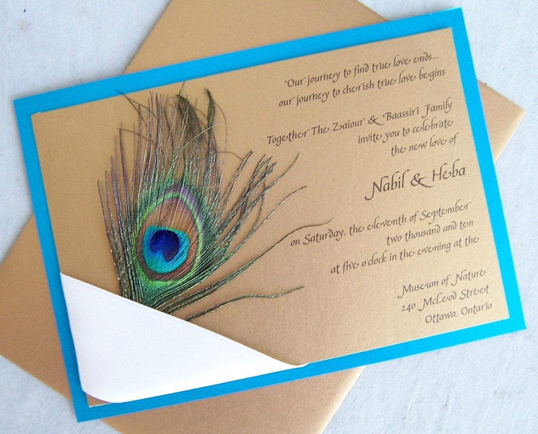 Peacock wedding invitation gold teal aqua ribbon navy for Peacock wedding invitations with photo