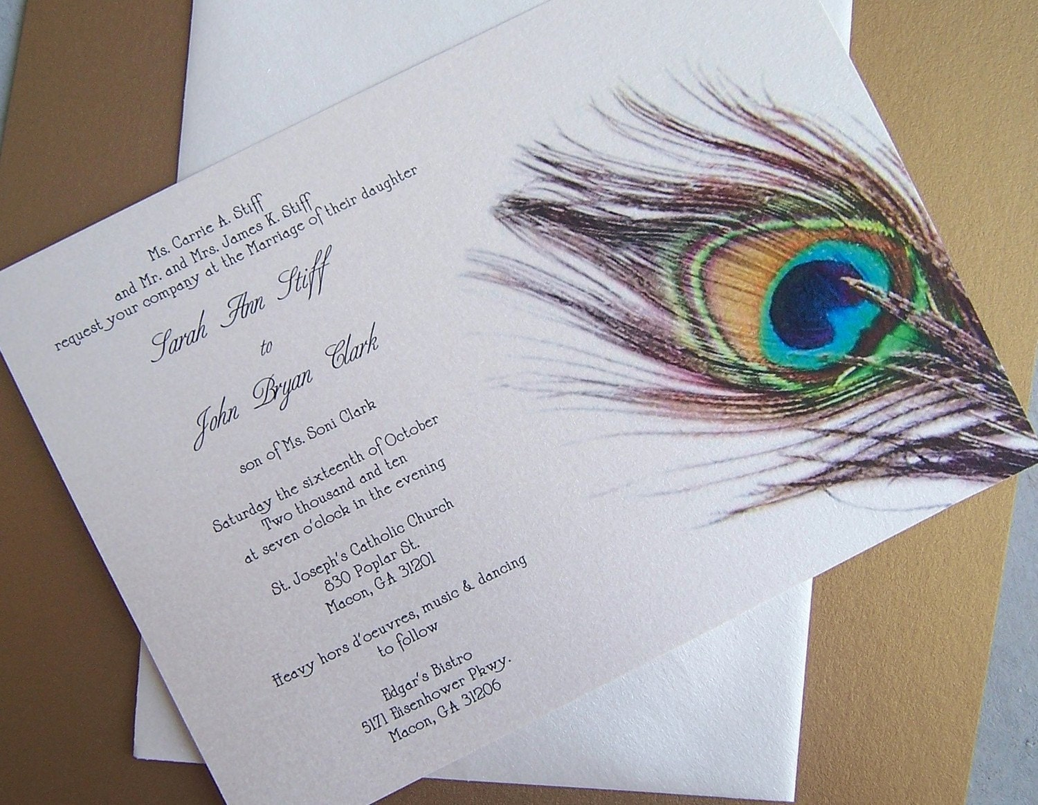 Teal Invitations Wedding: Peacock Wedding Invitation Teal Gold Ivory Navy By