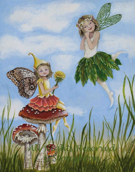 Reserved Original Commissioned Fairy Girl Acrylic Painting for Elaine