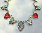 Sterling Silver Red Leaf Necklace Vintage Glass 1920s Art Deco Jewelry