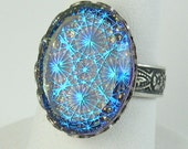 Blue Glass Starburst Opal Cocktail Ring with Adjustable Silver Filagree Band