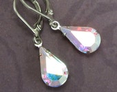 Rhninestone Drop Earrings Aurora Borealis Glass Drop with Silver