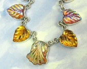 Vintage Glass Necklace Sterling Silver Amber Leaf Art Deco Jewelry