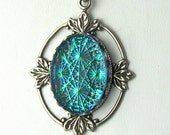 Teal Green Glass Fire Starburst Fire Opal Pendant Necklace with Gothic Inspired Antique Silver Filagree and Chain