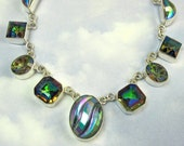 Green Vintage Necklace Sterling Silver Necklace Art Deco Jewelry Romantic Gothic