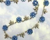 Blue Rhinestone Necklace Antique Silver Filagree Flower