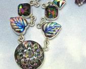 Sterling Silver Necklace Vintage Glass Necklace