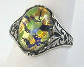 Vintage Green Fire Opal Glass Ring with silver Adjustable band Cocktail Ring