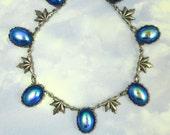 Blue Necklace Vintage Glass Antique Silver Necklace 1920s Art Deco Jewelry