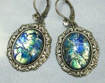 Blue Dangle Earrings Blue Opal Vintage Glass Earrings