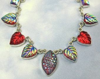 Sterling Silver Red Leaf Necklace Vintage Glass 1920s Art Deco Jewelry 325