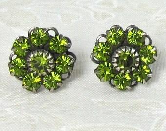 Olive Green Swarovski Crystal Flower Post Earrings