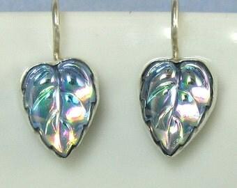 Vintage Iridescent Blue Leaf Cabochons Earrings set in Sterling Silver 512