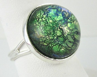 Green Opal Ring Adjustable Cocktail Ring in Silver