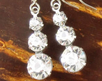 Rhinestone Drop Earrings - Swarovski Clear Crystal Drops and Silver Earwires