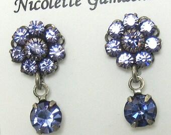 Purple Crystal Earrings Swarovski Flower post