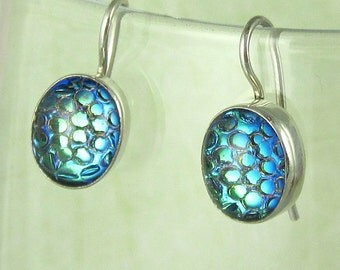 Aqua Blue Vintage Glass Cabochons Earrings set in Sterling Silver 500