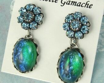 Green Opal Earrings Vintage Glass Crystal Flower Post Earrings art deco earrings