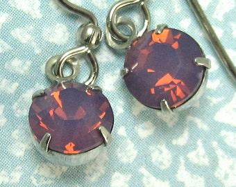 Crystal Drop Earrings Purple Cyclamen Opal Crystal Swarovski with Silver