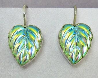 Sterling Silver Earrings Green Leaf Vintage Glass 1920s Art Deco Style Jewelry 303