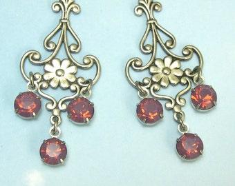 Pink Rhinestone Chandelier Earrings Cyclamen Opal Art Nouveau Flower