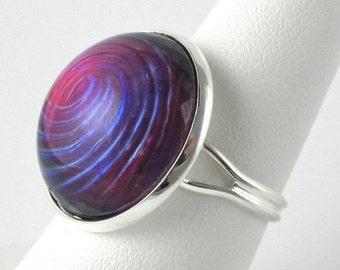 Adjustable Ring Vintage Glass Purple Dragons Breath Opal with Silver Band