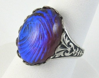 Purple Silver Ring Dragons Breath Glass Adjustable Gothic Cocktail Ring