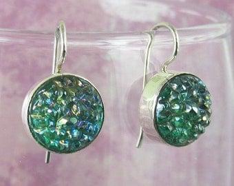 Sterling Silver Earrings Sterling Silver Green Crackle Earrings 378