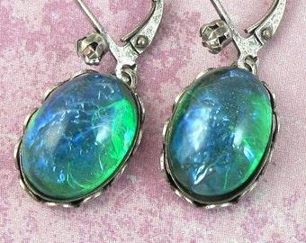 Teal Green Earrings Green Fire Opal Vintage Glass Drop Silver Earrings