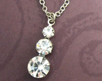 Swarovski Crystal Necklace Clear Rhinestone and Antique Silver Chain