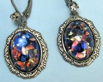 Opal Dangle Earrings Blue Orange Vintage Glass in Silver