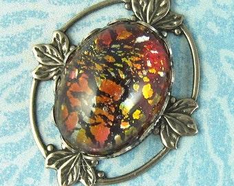 Fire Opal Necklace Vintage Glass Orange Stone Romantic Gothic