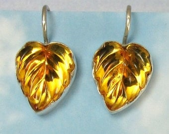 Golden Yellow Vintage Glass Leaf Earrings set in Sterling Silver 308