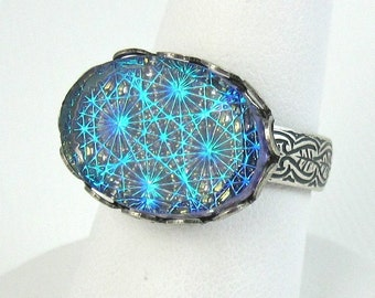 Blue Ring Starburst Adjustable Silver Ring Band Art Deco Jewelry Cocktail Ring