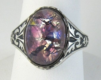 Purple Opal Ring Adjustable Vintage Glass Antique Silver Band Cocktail Ring