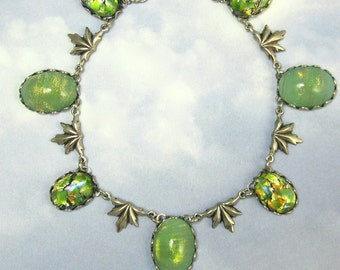Green Necklace Vintage Celadon Glass in Antique Silver