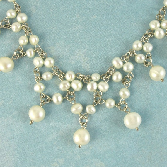 SALE White Fresh Water Pearl Lace Necklace Victorian sterling silver wire wrapped