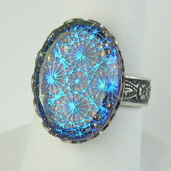 Blue Opal Ring Adjustable Gothic Starburst By