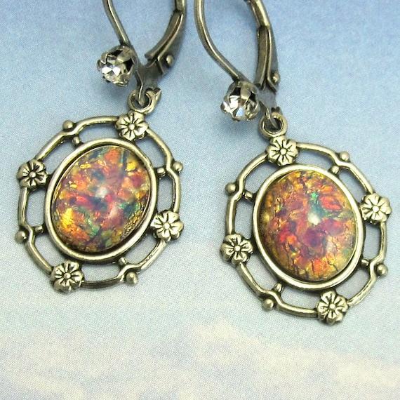 Pink Opal Earrings Vintage Glass Dangle in Antique Silver art deco earrings
