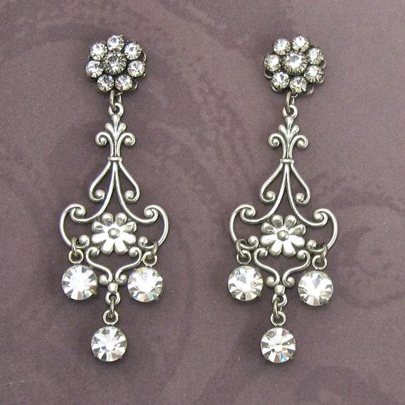 Crystal Chandelier Earrings Filagree with Swarovski Drops