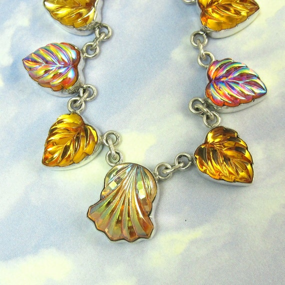 Art Deco Necklace Vintage Amber Leaf Glass Cabochons set in Sterling Silver 624