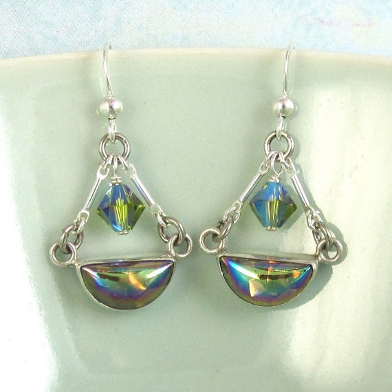 Sterling Silver  Earrings Iridescent Olive Green Vintage Glass ON SAle
