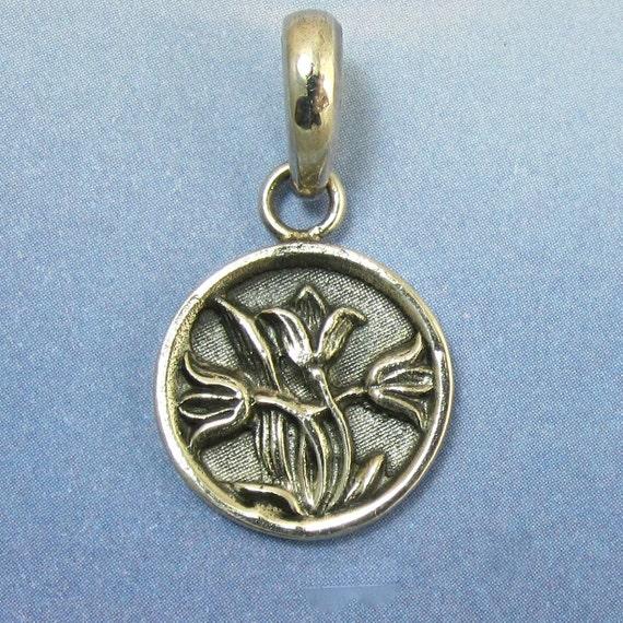 Silver Tulip Pendant Antique Button Victorian Button Sterling