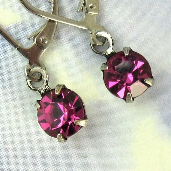 Crystal Drop Earrings FUSCHIA Pink Rhinestones with silver earwire