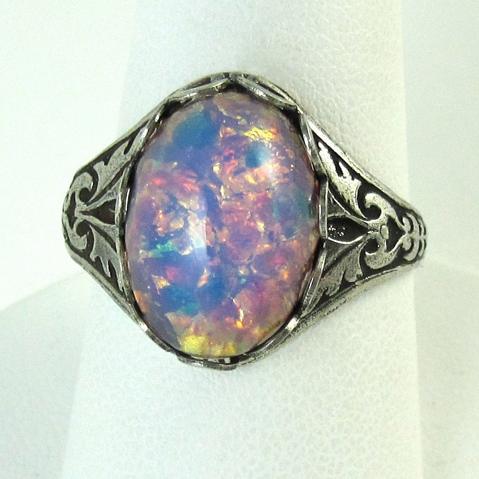 Pink Fire Opal Ring Adjustable Glass And Antique Silver