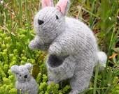 Wool felt Kangaroo Mom and Joey toy animal