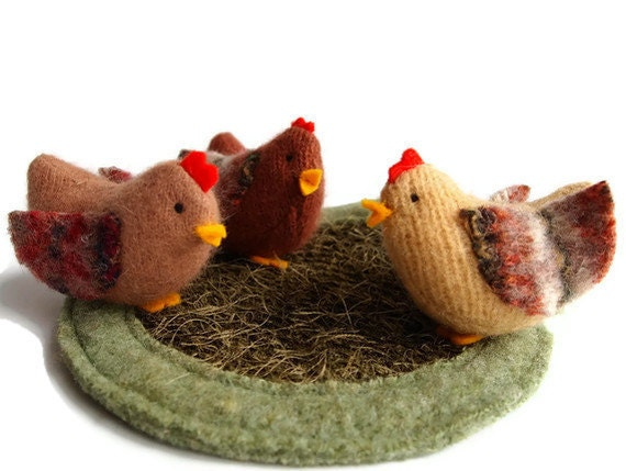 Chickens,waldorf wool toys