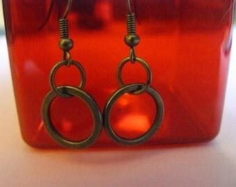 Brass ring earrings