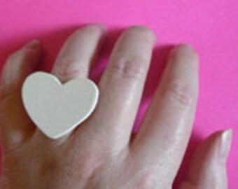 White heart Ring